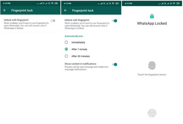 WhatsApp Gets FingerPrint Authentication Feature.