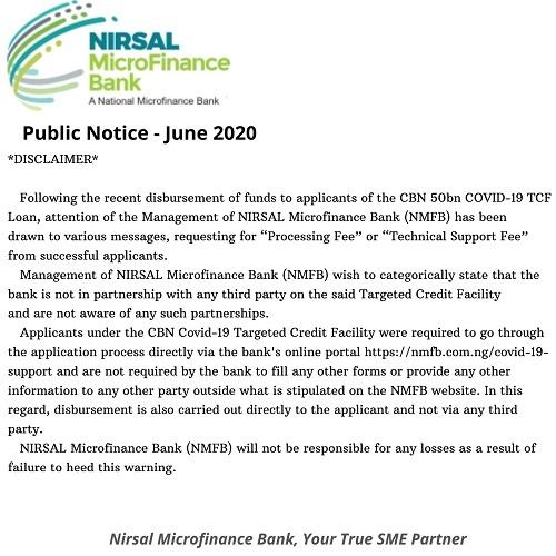 NIRSAL MFB - CBN Loan