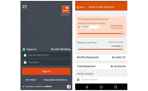 GTBank Quick Credit View on Mobile App