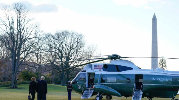 The Presidential Marine One helicopter carrying Donald and Melania Trump