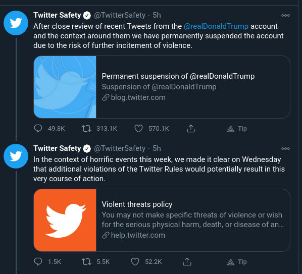 Twitter permanently ban Trump