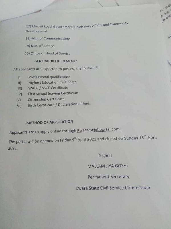 Kwara State Govt Announces Recruitment Into Civil Service 1